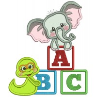 Little Elephant With ABC Blocks Back To School Applique Machine Embroidery Design Digitized Pattern