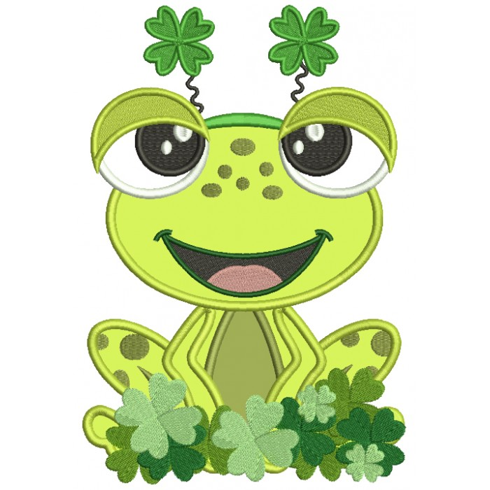 Little Frog In The Filed Of Shamrocks Applique St. Patrick's Day Machine Embroidery Design Digitized Pattern
