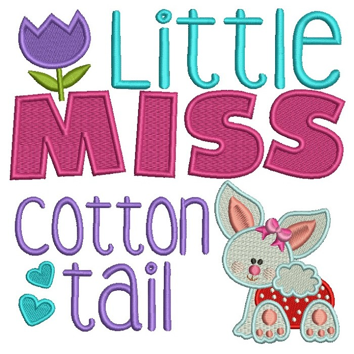 Little Miss Cotton Tail Easter Bunny Filled Machine Embroidery Design Digitized Pattern