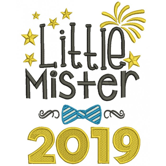 Little Mister 2019 Happy New Year Filled Machine Embroidery Design Digitized Pattern