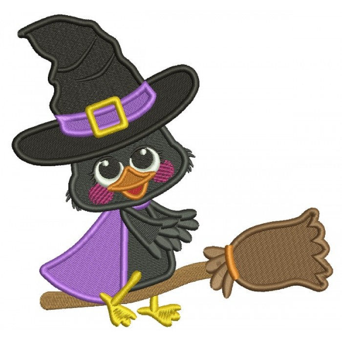 Little Witch Crow On The Broom Filled Halloween Machine Embroidery Design Digitized Pattern
