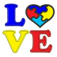 Love Heart Autism Awareness Applique Machine Embroidery Design Digitized Pattern