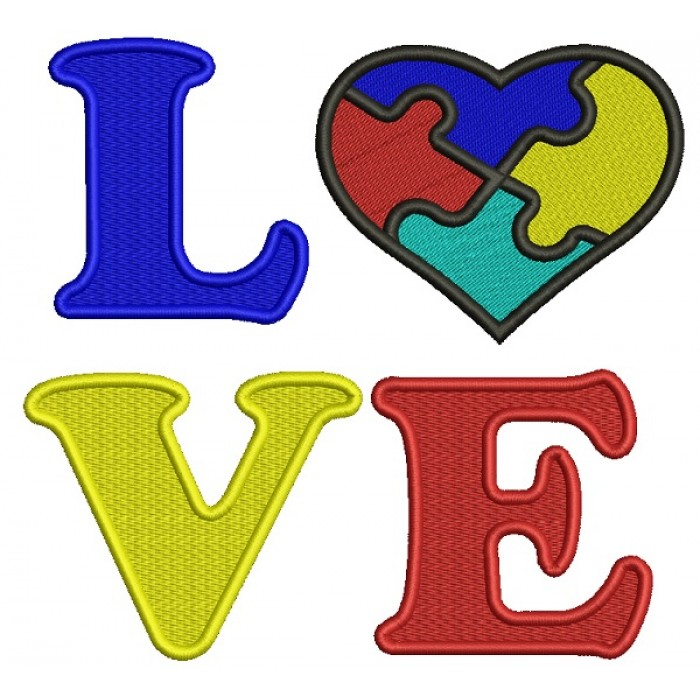 Love Heart Autism Awareness Filled Machine Embroidery Design Digitized Pattern