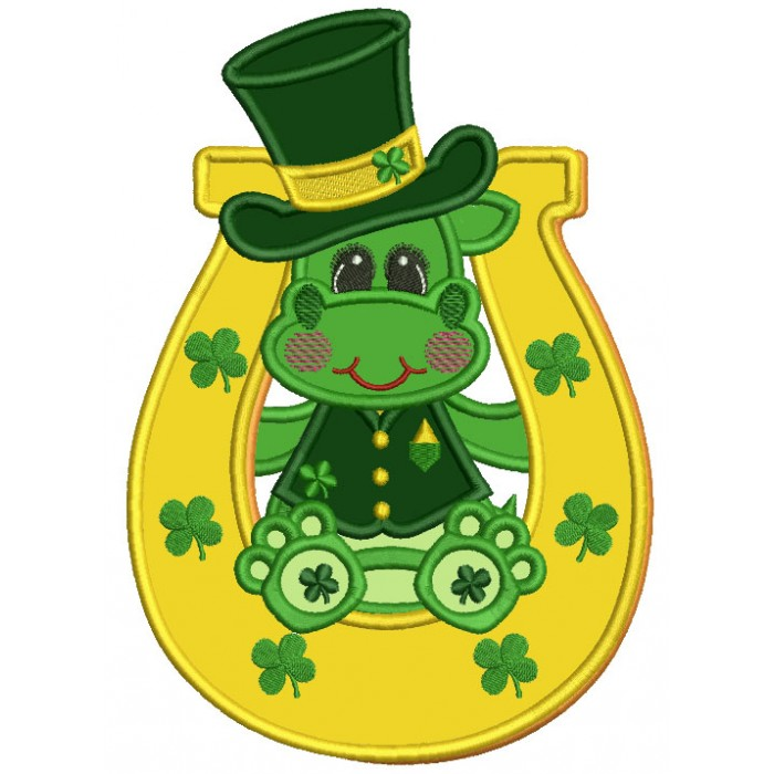 Lucky Dino Inside a Horseshoe Applique St. Patrick's Day Machine Embroidery Design Digitized Pattern