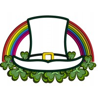 Lucky Hat And Rainbow St. Patrick's Applique Machine Embroidery Design Digitized