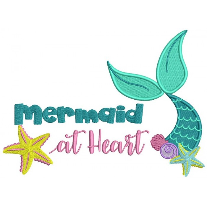 Mermaid At Heart Filled Machine Embroidery Design Digitized Pattern
