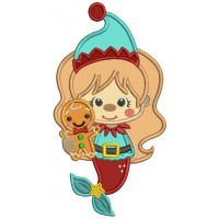 Mermaid Holdinng Gingerbread Man Applique Christmas Machine Embroidery Design Digitized Pattern