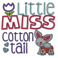 Little Miss Cotton Tail Easter Bunny Applique Machine Embroidery Design Digitized Pattern