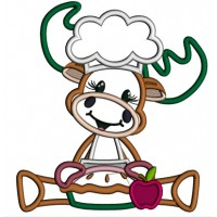 Moose Cook Holding Apple Pie Thanksgiving Applique Machine Embroidery Design Digitized Pattern