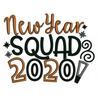 New Year Squad 2020 Applique Machine Embroidery Design Digitized Pattern
