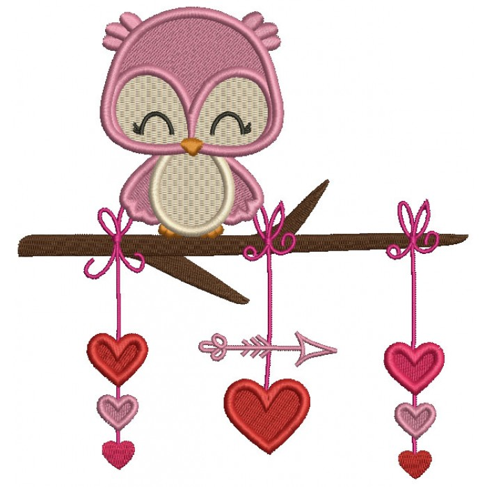 Owl On The Branch With Hearts and Arrow Valentine's Day Filled Machine Embroidery Design Digitized Pattern
