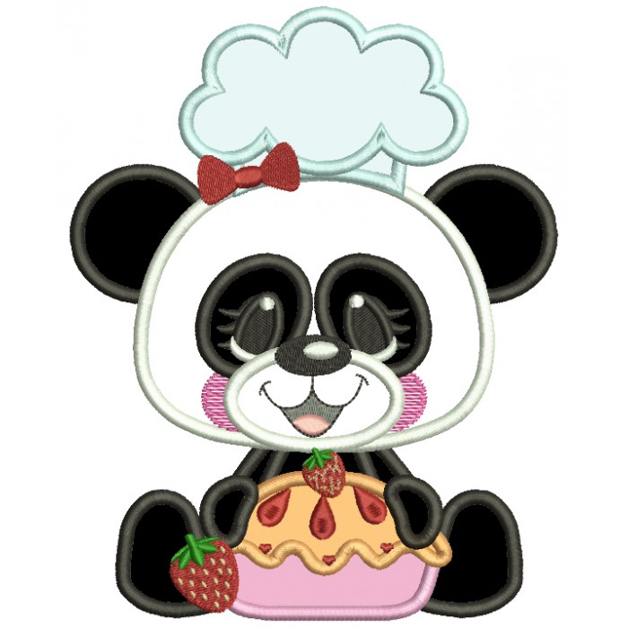 Panda Cook With Cherry Pie Applique Machine Embroidery Design Digitized Pattern