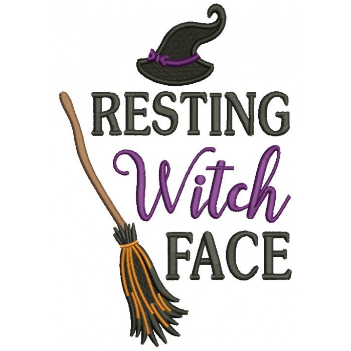 Resting Witch Face Broom Filled Halloween Machine Embroidery Design Digitized Pattern