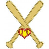 Softball Bats With Heart Sports Applique Machine Embroidery Design Digitized Pattern