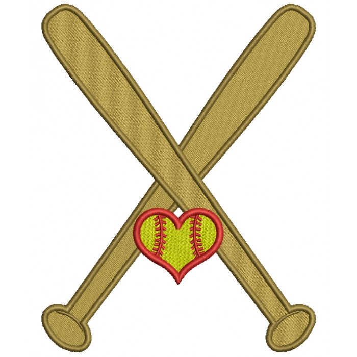 Softball Bats With Heart Sports Filled Machine Embroidery Design Digitized Pattern