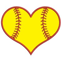Softball Heart Sports Applique Machine Embroidery Design Digitized Pattern