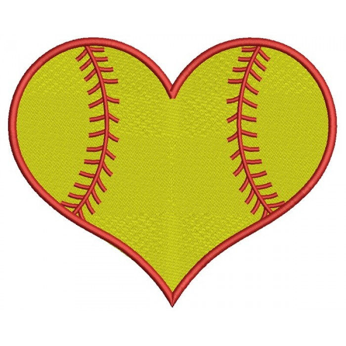 Softball Heart Sports Filled Machine Embroidery Design Digitized Pattern