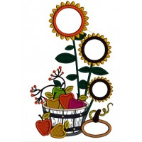 Sunflowers And Apples In The Wooden Basket Fall Applique Machine Embroidery Design Digitized Pattern