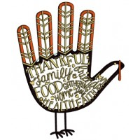 Thankful Family Food Gathering Hand Thanksgiving Applique Machine Embroidery Design Digitized Pattern