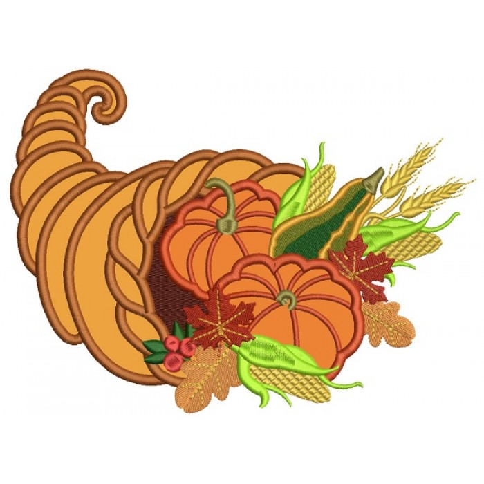 Thanksgiving Cornucopia Applique Machine Embroidery Design Digitized Pattern