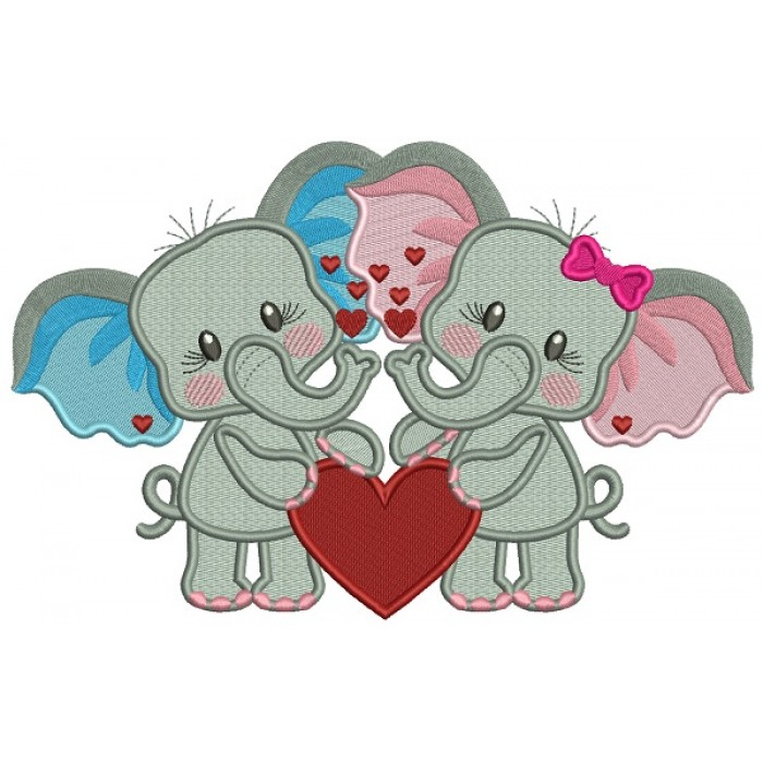 Two Cute Baby Elephants Holding a Hearts Filled Valentine's Day Machine Embroidery Design Digitized Pattern