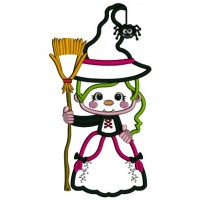 Witch Holding a Broom With a Spider On Her Hat Halloween Applique Machine Embroidery Design Digitized Pattern