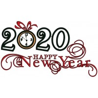 2020 Happy New Year Applique Machine Embroidery Design Digitized Pattern