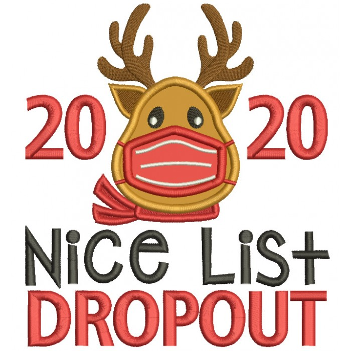 2020 Nice List Dropout New Year Applique Machine Embroidery Design Digitized Pattern