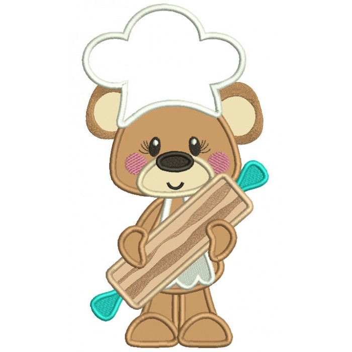 Bear Cook Holding a Rolling Pin Applique Machine Embroidery Design Digitized Pattern