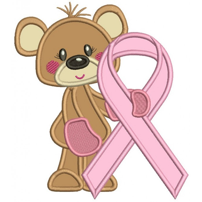 Bear Holding Breast Cancer Awareness Ribbon Applique Machine Embroidery Design Digitized Pattern