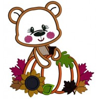 Bear Holding a Big Pumpkin With Leaves Thanksgiving Applique Machine Embroidery Design Digitized Pattern