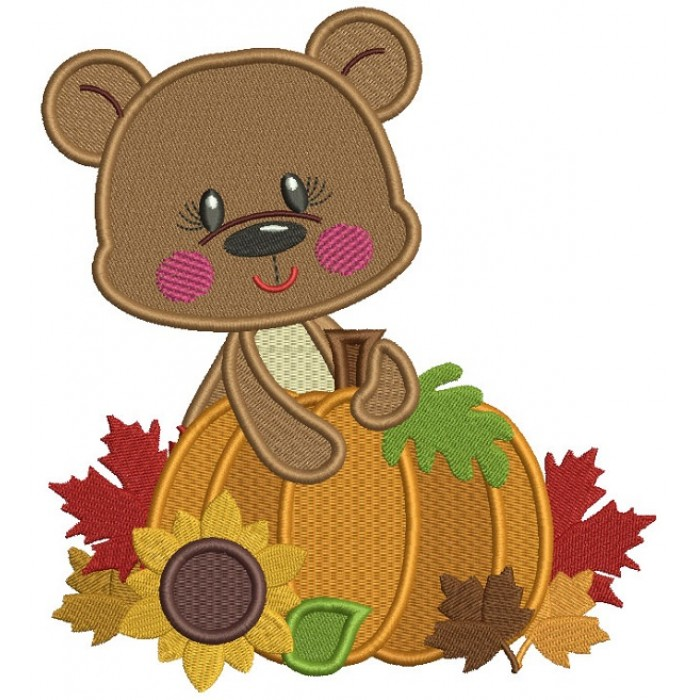 Bear Holding a Big Pumpkin With Leaves Thanksgiving Filled Machine Embroidery Design Digitized Pattern