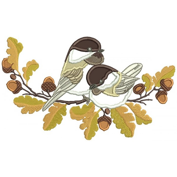 Bird Sitting On The Branch With Acorns Applique Machine Embroidery Design Digitized Pattern
