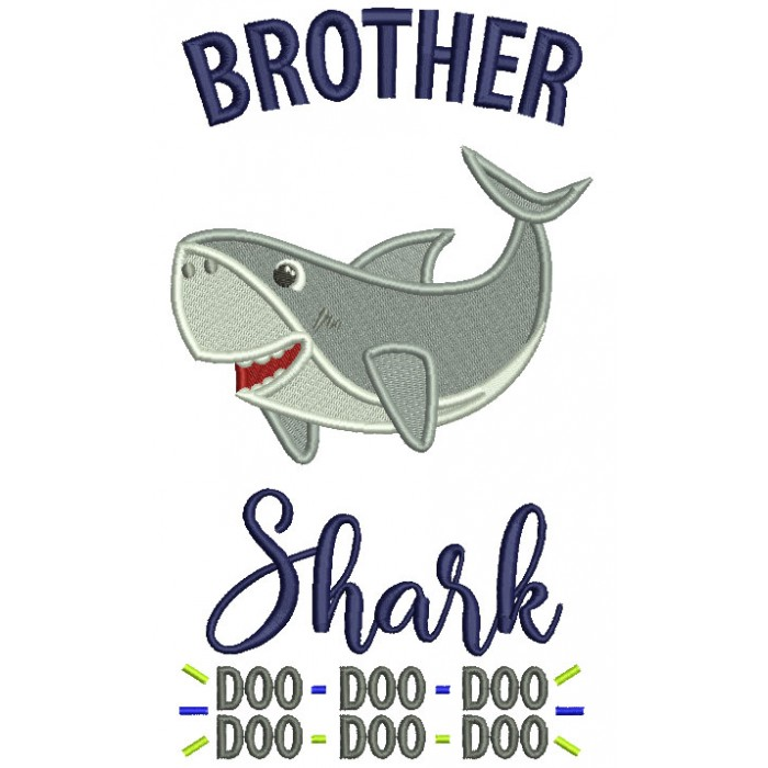 Brother Shark Doo Doo Children Rhimes Filled Machine Embroidery Design Digitized Pattern