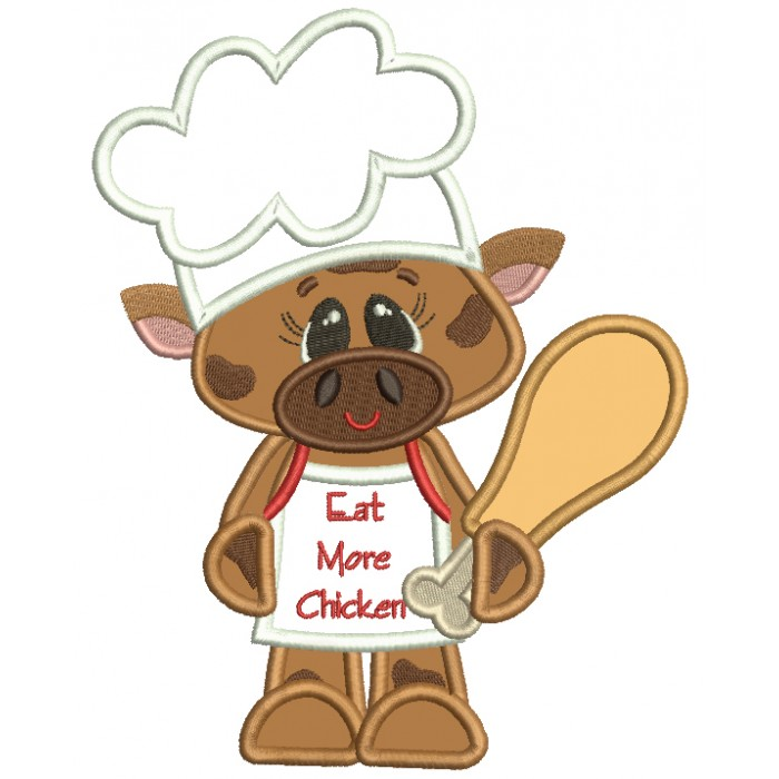 Bull Cook With Eat More Chicken Apron Applique Machine Embroidery Design Digitized Pattern