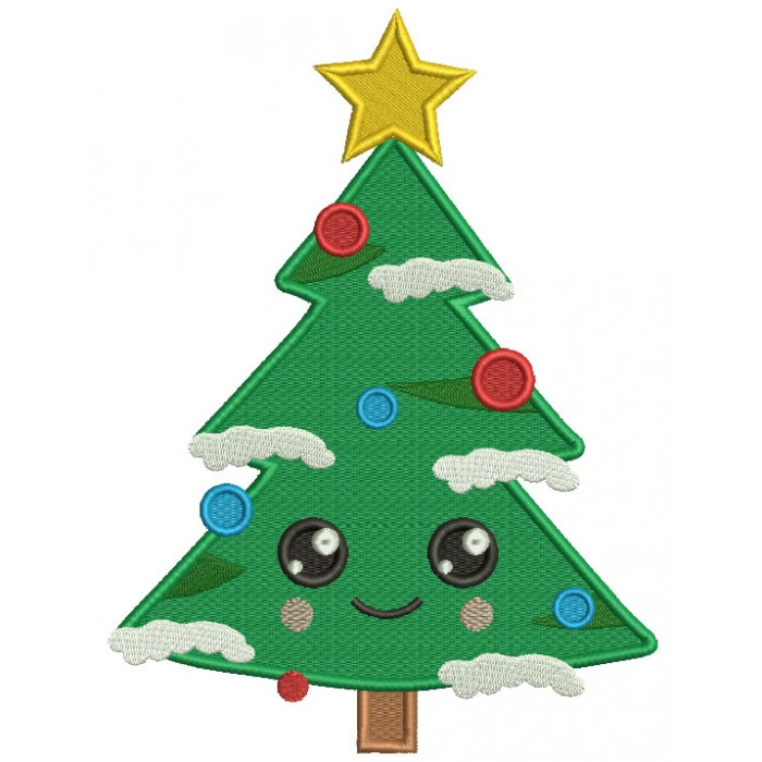 Christmas Tree With A Very Big Smile Filled Machine Embroidery Design Digitized Pattern