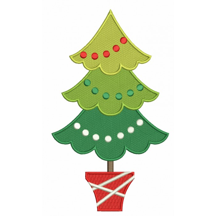 Christmas Tree With Round Lights Filled Machine Embroidery Design Digitized Pattern