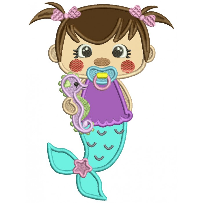 Cute Baby Girl Mermaid Holding Seahorse Applique Machine Embroidery Design Digitized Pattern