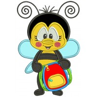 Cute Bee Holding School Backpack Applique Machine Embroidery Design Digitized Pattern