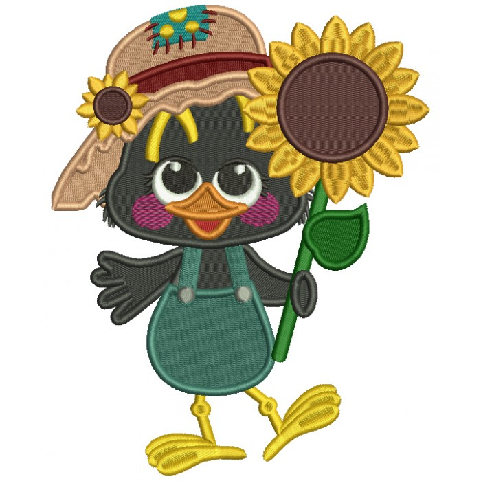 Cute Crow Holding a Sunflower Fall Filled Thanksgiving Machine Embroidery Design Digitized Pattern