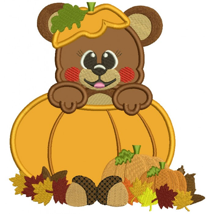 Cute Little Bear Sitting Inside Pumpkin Fall Applique Machine Embroidery Design Digitized Pattern