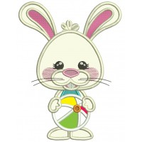 Cute Little Bunny With Beach Ball Applique Machine Embroidery Design Digitized Pattern