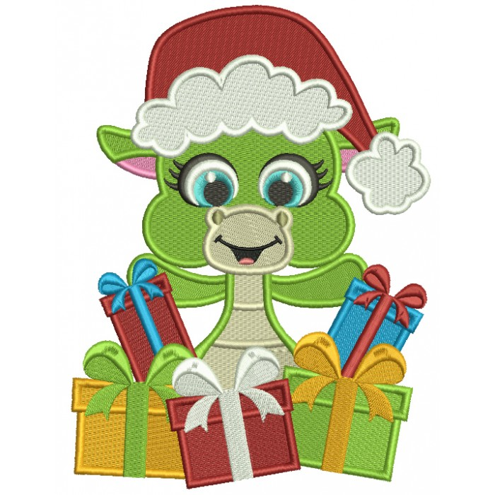 Cute Little Dino Wearing Santa Hat Holding Presents Filled Christmas Machine Embroidery Design Digitized Pattern