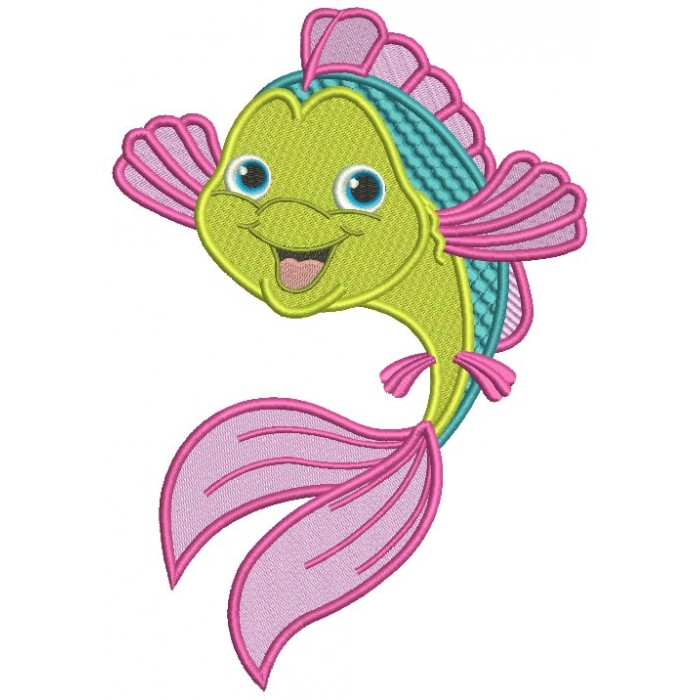 Cute Little Smiling Fish Filled Machine Embroidery Design Digitized Pattern