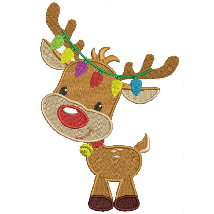 Cute Reindeer With Christmas Lights Filled Machine Embroidery Design Digitized Patter