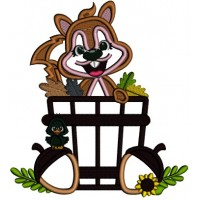Cute Squirrel Sitting In The Basket With Leaves Fall Applique Thanksgiving Machine Embroidery Design Digitized Pattern