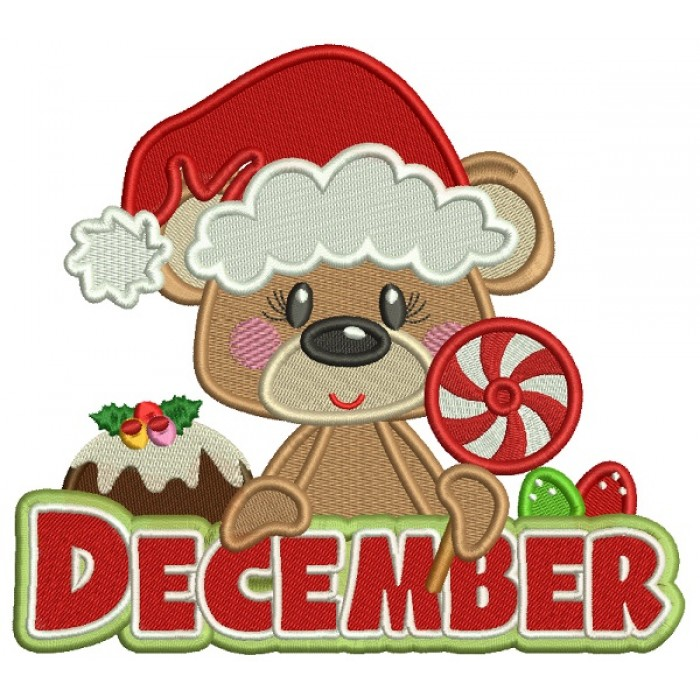 December Bear Holding Candy Christmas Filled Machine Embroidery Design Digitized Pattern