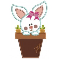 Easter Bunny With a Cute Bow Applique Machine Embroidery Design Digitized Pattern