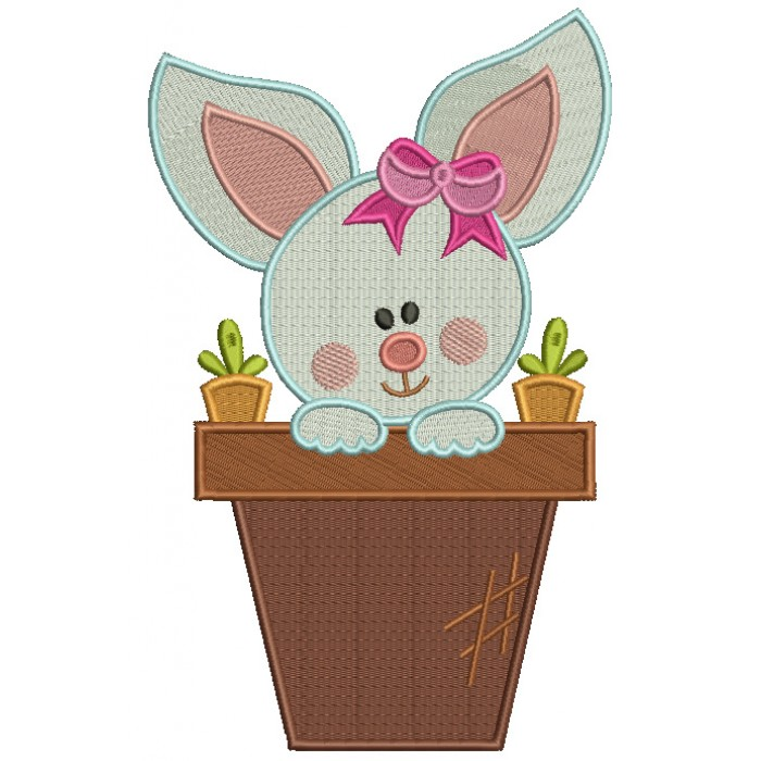 Easter Bunny With a Cute Bow Filled Machine Embroidery Design Digitized Pattern