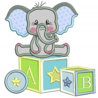 Elephant Sitting On School Blocks Applique Machine Embroidery Digitized Design Pattern